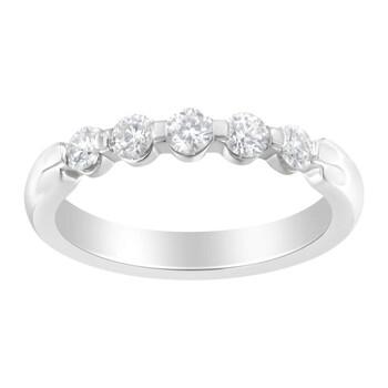 Trang sức Haus Of Brilliance Vàng trắng 14K 1/2 ct TDW Kim cương 5-Stone Band Nhẫn (H-I