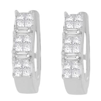 Trang sức Haus Of Brilliance Vàng trắng 14K 1/2ct. TDW Baguette và Princess-cut Kim cương Bông tai (khuyên tai