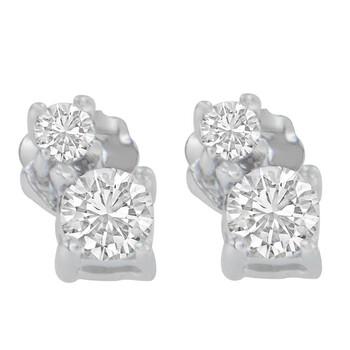 Trang sức Haus Of Brilliance Vàng trắng 14K 1/2ct TDW Round Cut Kim cương Bông tai (khuyên tai