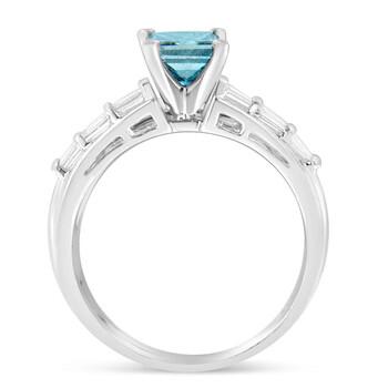 Trang sức Haus Of Brilliance Vàng trắng 14K 1 3/8ct TDW Baguette và Treated Blue Princess Cut Kim cương Nhẫn đính hôn Set(H-I