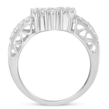 Trang sức Haus Of Brilliance Vàng trắng 14K 1ct TDW Kim cương Floral Cluster Nhẫn (H-I