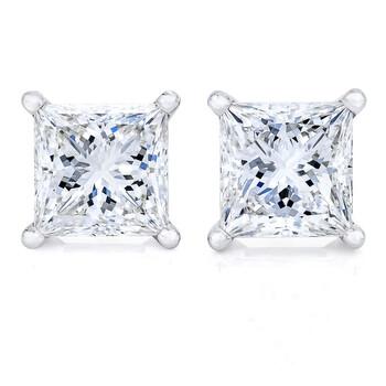 Trang sức Haus Of Brilliance Vàng trắng 14K 1ct TDW Kim cương Solitaire Stud Bông tai (khuyên tai