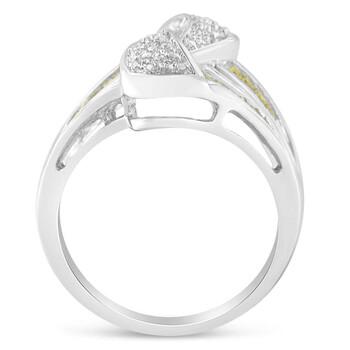 Trang sức Haus Of Brilliance Vàng trắng 14K 1ct TDW White Round và Treated Yellow Baguette Kim cương Nhẫn(SI1-SI2