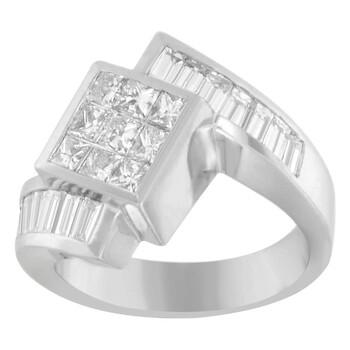 Trang sức Haus Of Brilliance Vàng trắng 14K 2 1/5ct TDW Princess và Baguette-cut Kim cương Nhẫn (G-H