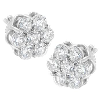 Trang sức Haus Of Brilliance Vàng trắng 14K 2 cttw Prong Set Round-Cut Kim cương Floral Cluster Stud Earring (H-I Color