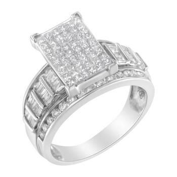 Trang sức Haus Of Brilliance Vàng trắng 14K 2ct. TDW Kim cương Composite Nhẫn (H-I