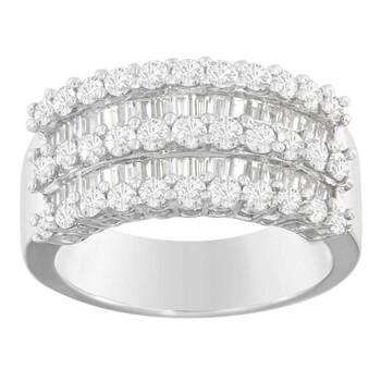 Trang sức Haus Of Brilliance Vàng trắng 14K 2ct TDW Round và Baguette-cut Kim cương Nhẫn (H-I