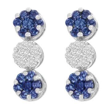 Trang sức Haus Of Brilliance Vàng trắng 14K 2ct.TDW Round và Treated Blue-Cut Kim cương Bông tai (khuyên tai