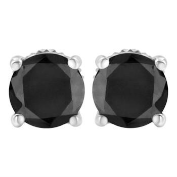 Trang sức Haus Of Brilliance Vàng trắng 14K 3 cttw Kim cương đen Screw-Back 4-Prong Classic Stud Bông tai (khuyên tai