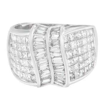 Trang sức Haus Of Brilliance Vàng trắng 14K 3ct.TDW Princess và Baguette Cut Kim cương Nhẫn(H-I