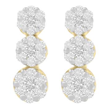 Trang sức Haus Of Brilliance Vàng 14K 1 1/2ct. TDW Round-cut Kim cương Bông tai (khuyên tai