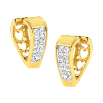 Trang sức Haus Of Brilliance Vàng 14K 1/2ct. TDW Kim cương Hoop Huggy Bông tai (khuyên tai