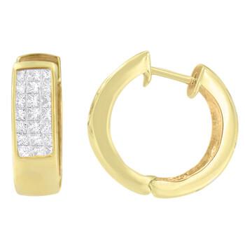 Trang sức Haus Of Brilliance Vàng 14K 1/3ct. TDW Kim cương Hoop Bông tai (khuyên tai