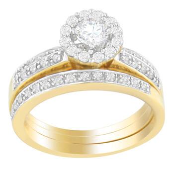 Trang sức Haus Of Brilliance Vàng 14K 3/4 ct. TDW Round Cut Kim cương Nhẫn đính hôn với Wedding Band Nhẫn (H-I