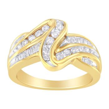 Trang sức Haus Of Brilliance Vàng 14K 3/4ct. TDW Round và Baguette-cut Kim cương Nhẫn (I-J