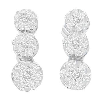 Trang sức Haus Of Brilliance Vàng trắng 18K 1ct. TDW Round-cut Kim cương Bông tai (khuyên tai