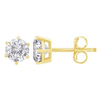 Trang sức Haus Of Brilliance Vàng 18K 1 1/2ct TDW Kim cương Solitaire Stud Bông tai (khuyên tai