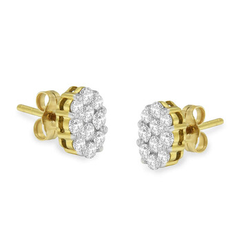 Trang sức Haus Of Brilliance Vàng 18K 1ct. TDW Flower Kim cương Stud Bông tai (khuyên tai