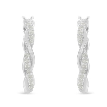 Trang sức Haus Of Brilliance .925 Sterling-Silver 1/4 cttw Pave Set Kim cương Twisted Spiral Hoop Earring (I-J Color