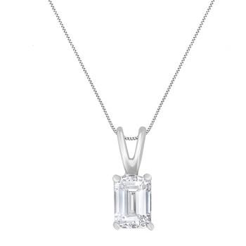 """Trang sức Haus Of Brilliance AGS Certified Vàng trắng 14K 1/2 Cttw Emerald-Cut Kim cương Solitaire 18"""" Pendant Dây chuyền (vòng cổ"""