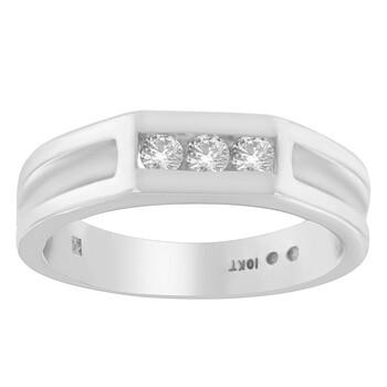 Trang sức Haus Of Brilliance Nam Vàng trắng 10K 3/4ct TDW Kim cương 3-Stone Band Nhẫn (I-J