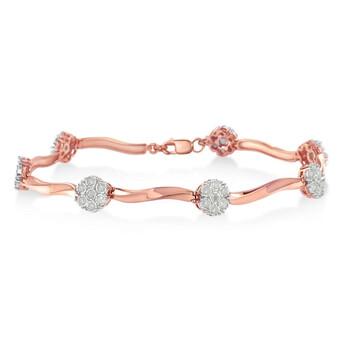 Trang sức Haus Of Brilliance Rose mạ Bạc 925 1ct TDW Kim cương Floral Link Vòng đeo tay (I-J