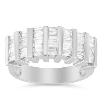 Trang sức Haus Of Brilliance Bạc 925 1 ct. TDW Multi-Row Baguette Kim cương Nhẫn (H-I