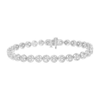 Trang sức Haus Of Brilliance Bạc 925 1ct. TDW Kim cương Circle Link Eternity Vòng đeo tay (I-J