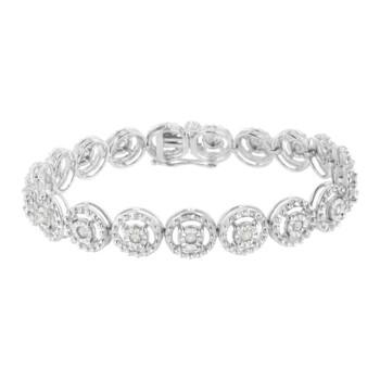 Trang sức Haus Of Brilliance Bạc 925 1ct TDW Kim cương Link Vòng đeo tay (I-J