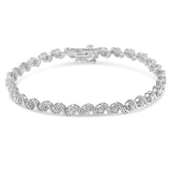 Trang sức Haus Of Brilliance Bạc 925 1ct. TDW Kim cương Spiral Link Vòng đeo tay (I-J