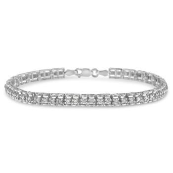 Trang sức Haus Of Brilliance Bạc 925 1ct. TDW Double-Link Kim cương Tennis Vòng đeo tay (I-J