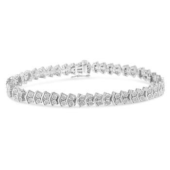 Trang sức Haus Of Brilliance Bạc 925 1ct TDW Round-cut Kim cương Link Tennis Vòng đeo tay (I-J