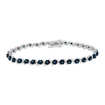Trang sức Haus Of Brilliance Bạc 925 1ct TDW Treated Blue Rose Cut Kim cương Spiral Link Vòng đeo tay (Blue