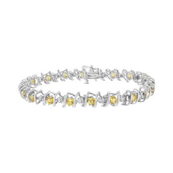 Trang sức Haus Of Brilliance Bạc 925 Yellow Citrine và Kim cương S-Link Tennis Vòng đeo tay (H-I