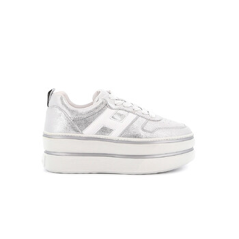 hogan ladies h449 platform sneakers in silver and white
