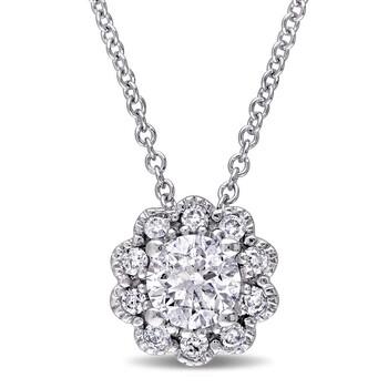 Trang sức Laura Ashley 1/2 CT TW Kim cương Pendant với Chain Vàng trắng 10K chính hãng sale giá rẻ Hà nội TPHCM