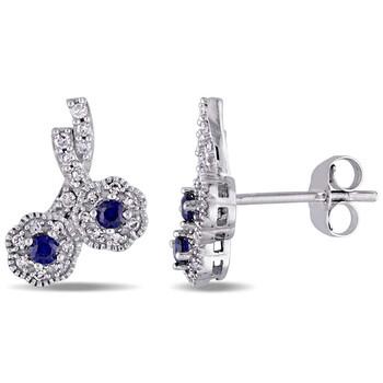 Trang sức Laura Ashley 1/6 CT TW Kim cương & 3/8 CT TGW Created Blue Sapphire stud Bông tai (khuyên tai