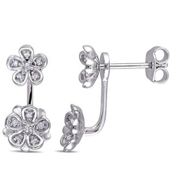Trang sức Laura Ashley 1/8 CT TW Kim cương Stud Flower 2-piece Bông tai (khuyên tai