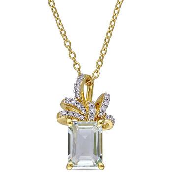Trang sức Laura Ashley 1/10 CT TW Kim cương và 1 3/5 CT TGW Green Amethyst Thời trang Pendant chính hãng sale giá rẻ Hà nội TPHCM