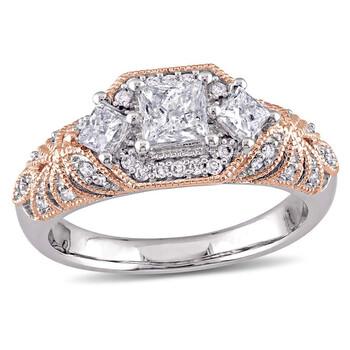 Trang sức Laura Ashley 1 CT Princess và Round TW Kim cương Nhẫn đính hôn chính hãng sale giá rẻ Hà nội TPHCM