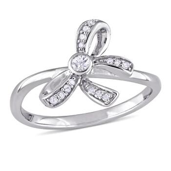 Trang sức Laura Ashley 0.062 ct. T.W White Sapphire và Kim cương Bow Nhẫn chính hãng sale giá rẻ Hà nội TPHCM