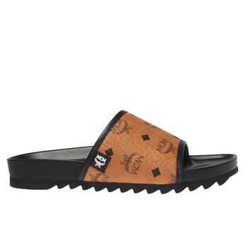 Giày Mcm nữ Visetos Logo-print Slides In Cognac chính hãng