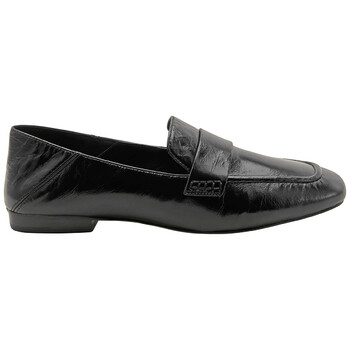 Giày Michael Kors nữ màu đen Emory Leather Foldover Loafers chính hãng