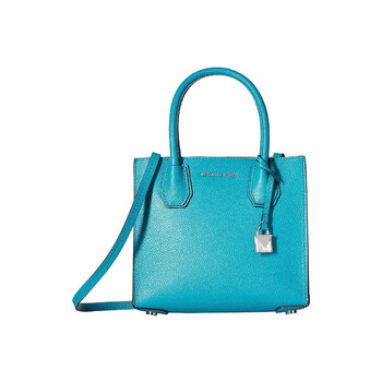 michael kors mercer medium pebbled leather messenger crossbody tile blue 30f6sm9m2l 439