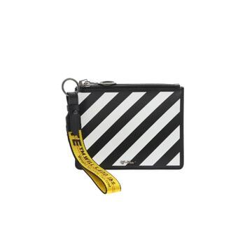Off-White màu đen / màu trắng Nữ Diag Zip Pouch Chính hãng từ Mỹ