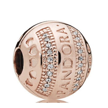 Trang sức Pandora 14k Rose-gold mạ Logo Round Clip Charm chính hãng sale giá rẻ Hà nội TPHCM