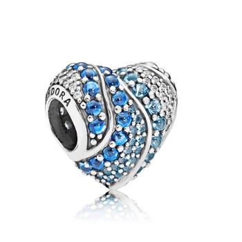 Trang sức Pandora Blue Water Heart Charm Bạc 925 chính hãng sale giá rẻ Hà nội TPHCM