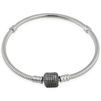 Trang sức Pandora Nữ Sparkling Pave Clasp Snake Chain Vòng đeo tay Bạc 925
