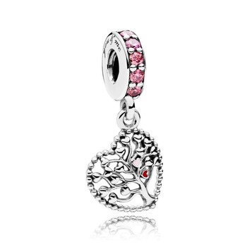 pandora pink family tree dangle charm in sterling silver