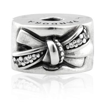 Trang sức Pandora Sparkling Bow Clip Charm Bạc 925 chính hãng sale giá rẻ Hà nội TPHCM